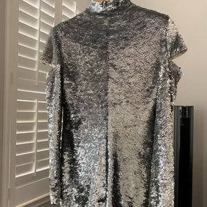 Helmut Lang Dresses - HELMUT LANG NWT DISCO SEQUIN SILVER DRESS M